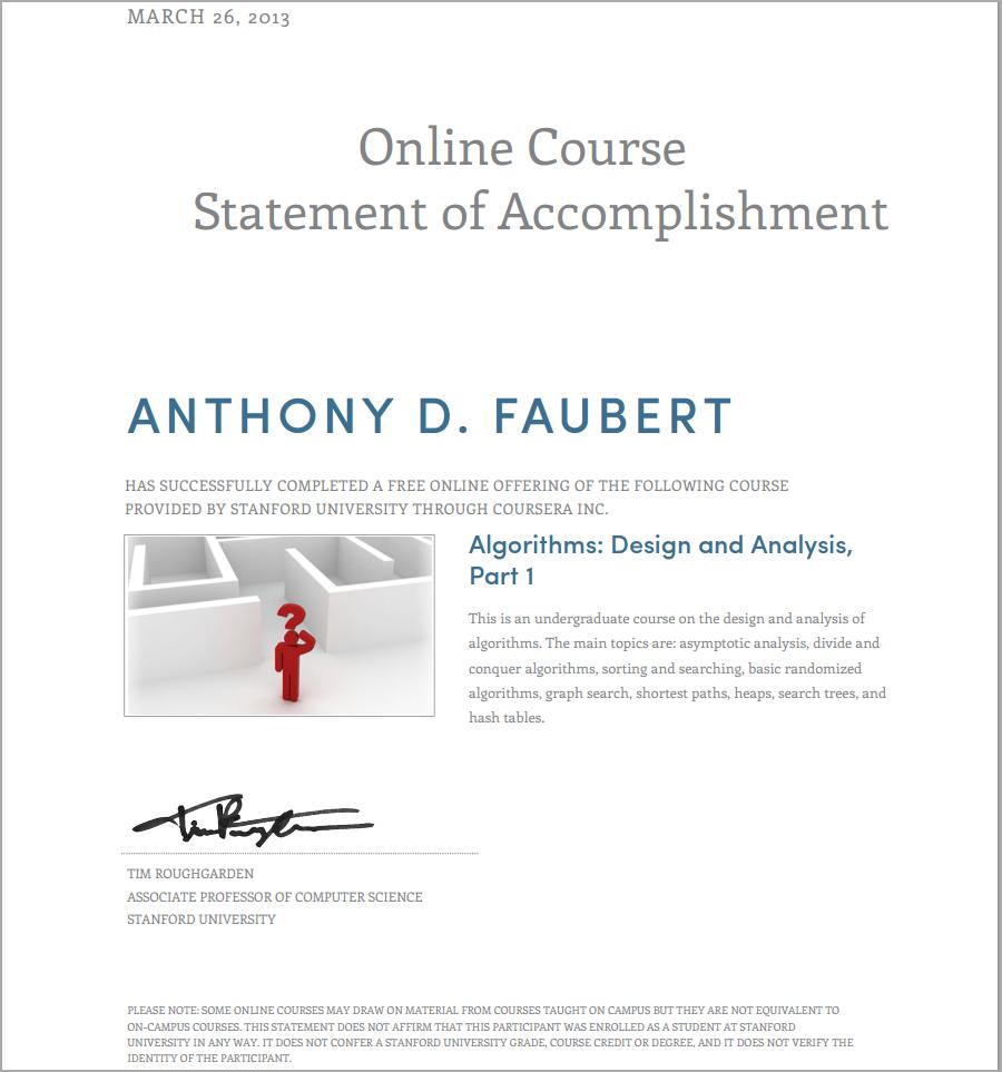 Anthony's Certificates